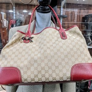 Authentic Gucci Monogram Red Leather Shoulder Bag